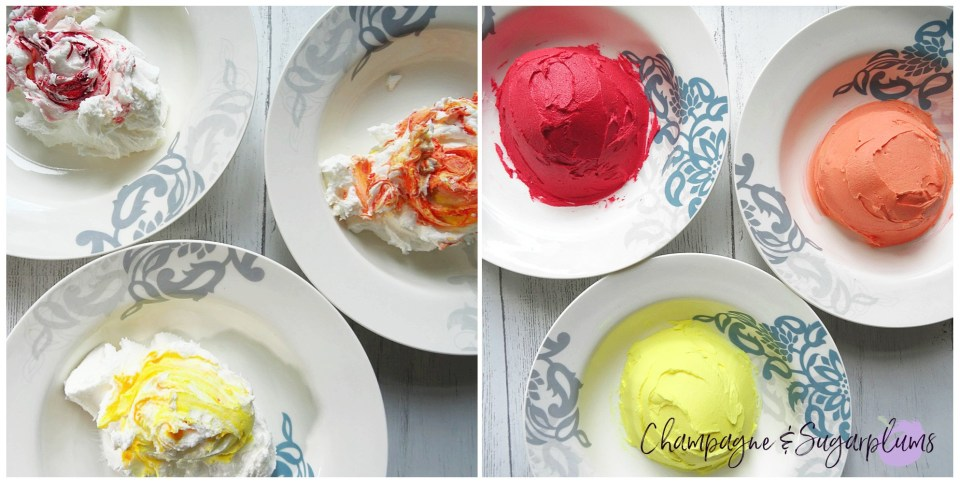 Bowls of coloured icing by Champagne and Sugarplums