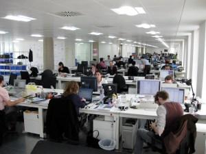 Employees working in an open office