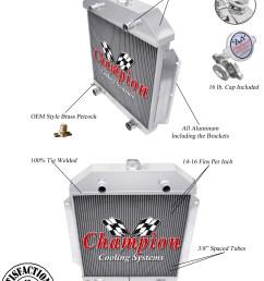 1949 50 51 52 53 ford cars ford flathead v8 champion 3 row core alum radiator [ 1290 x 1742 Pixel ]
