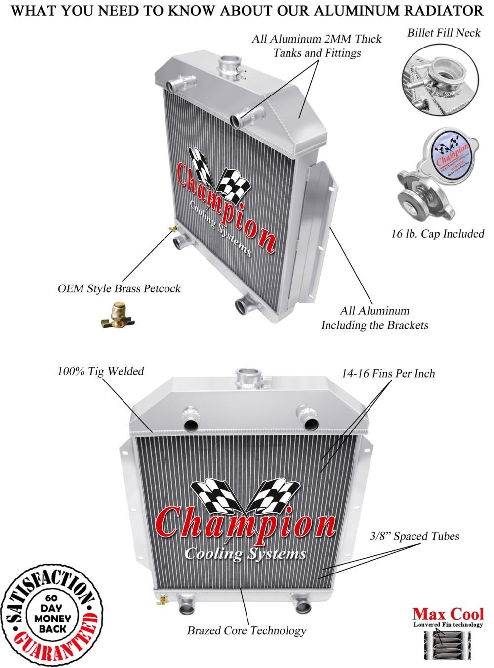 medium resolution of 1949 50 51 52 53 ford cars ford flathead v8 champion 3 row core alum radiator
