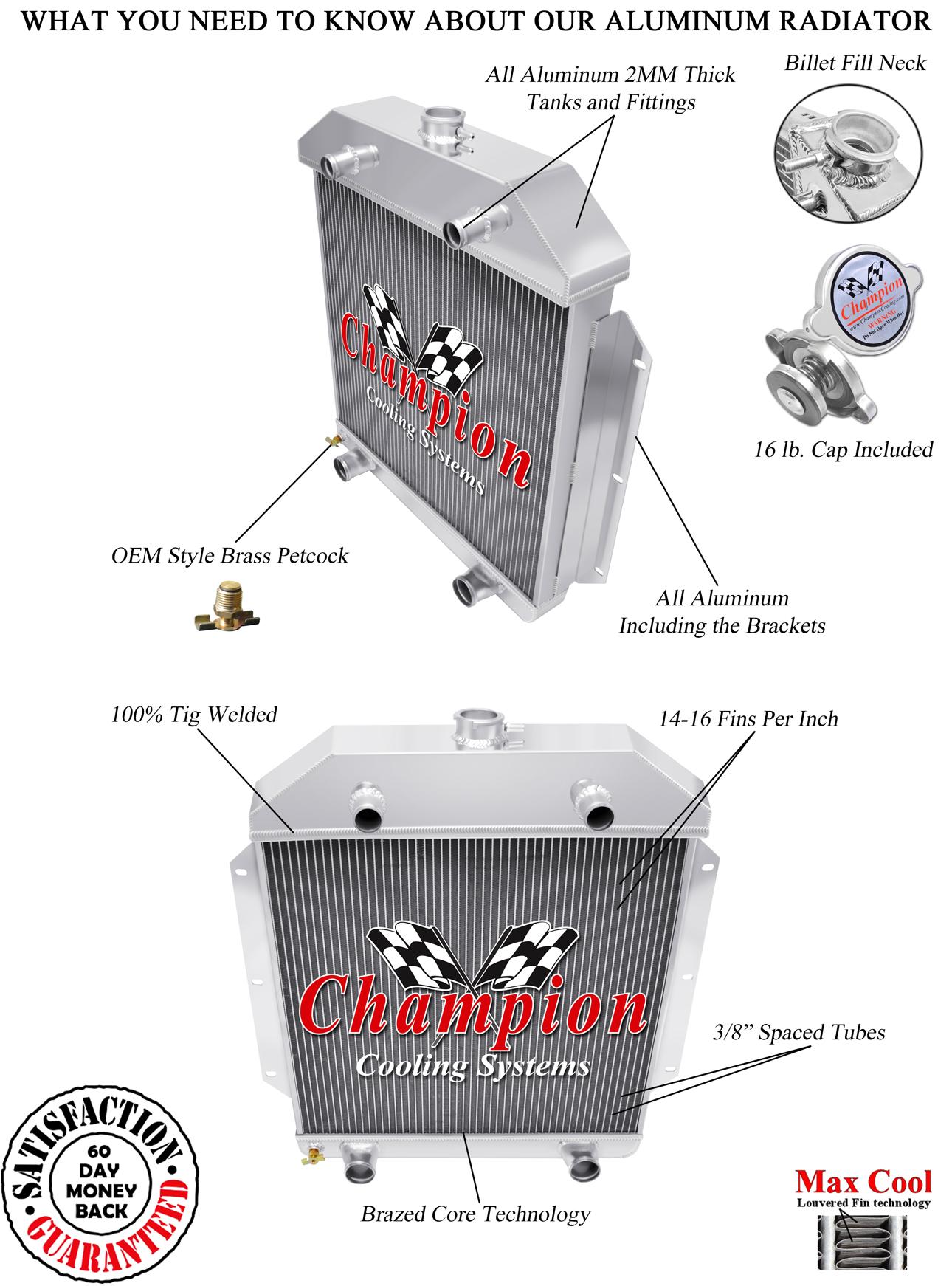 hight resolution of 1949 50 51 52 53 ford cars ford flathead v8 champion 3 row core alum radiator