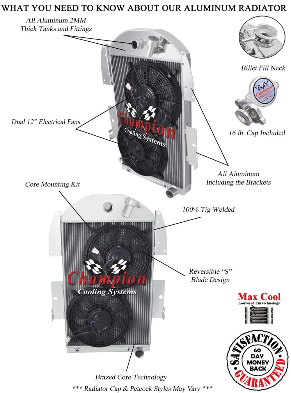 medium resolution of 3 row kr champion radiator w 2 12 fans for 1934 1936 chevrolet