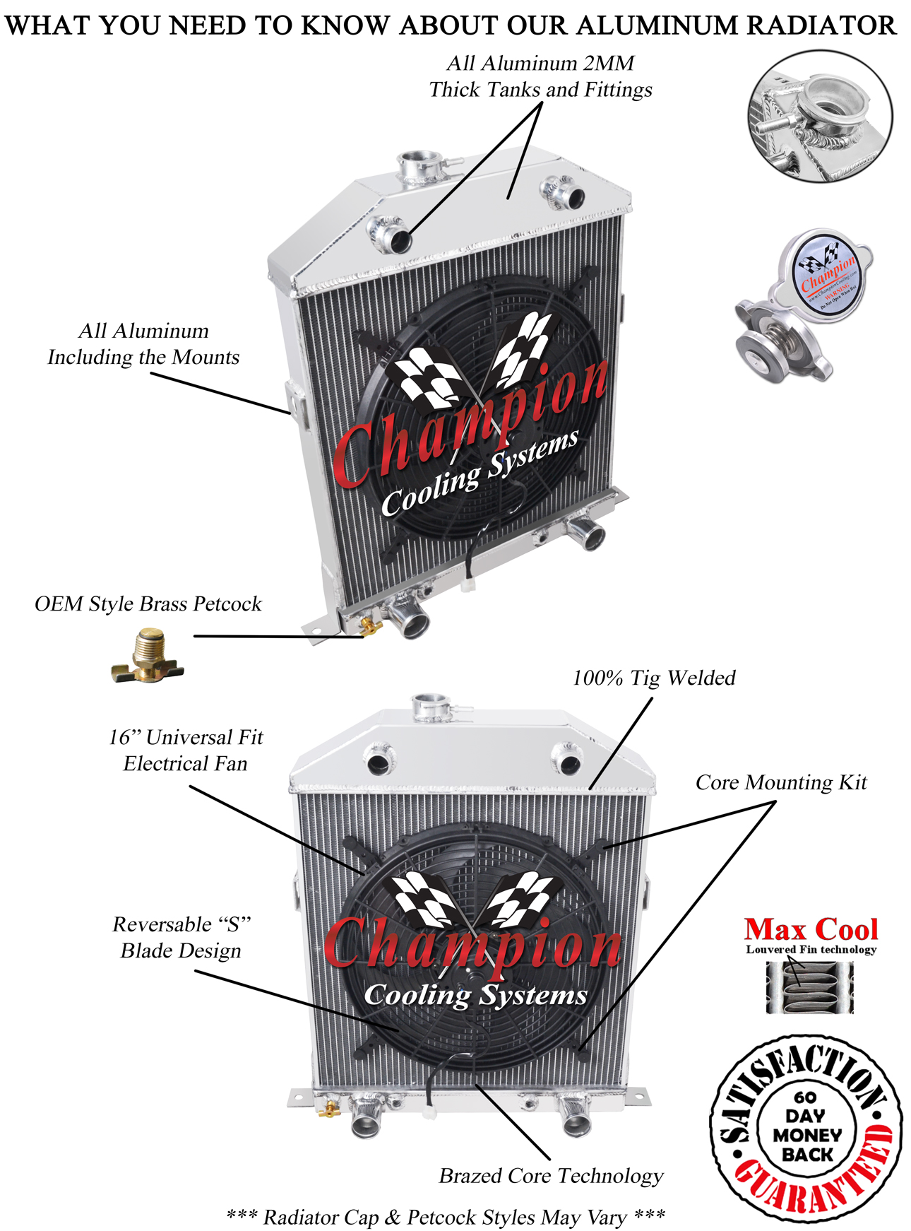 hight resolution of details about 2 row 1 rs champion radiator 16 fan for 1942 1948 ford coupe flathead config