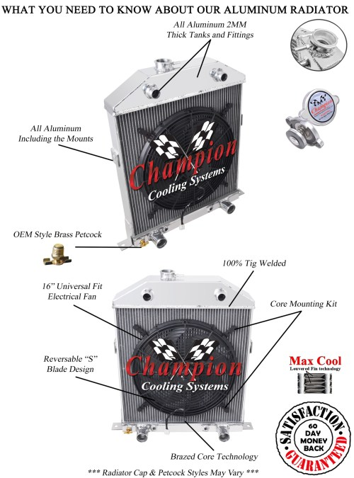 small resolution of details about 2 row 1 rs champion radiator 16 fan for 1942 1948 ford coupe flathead config