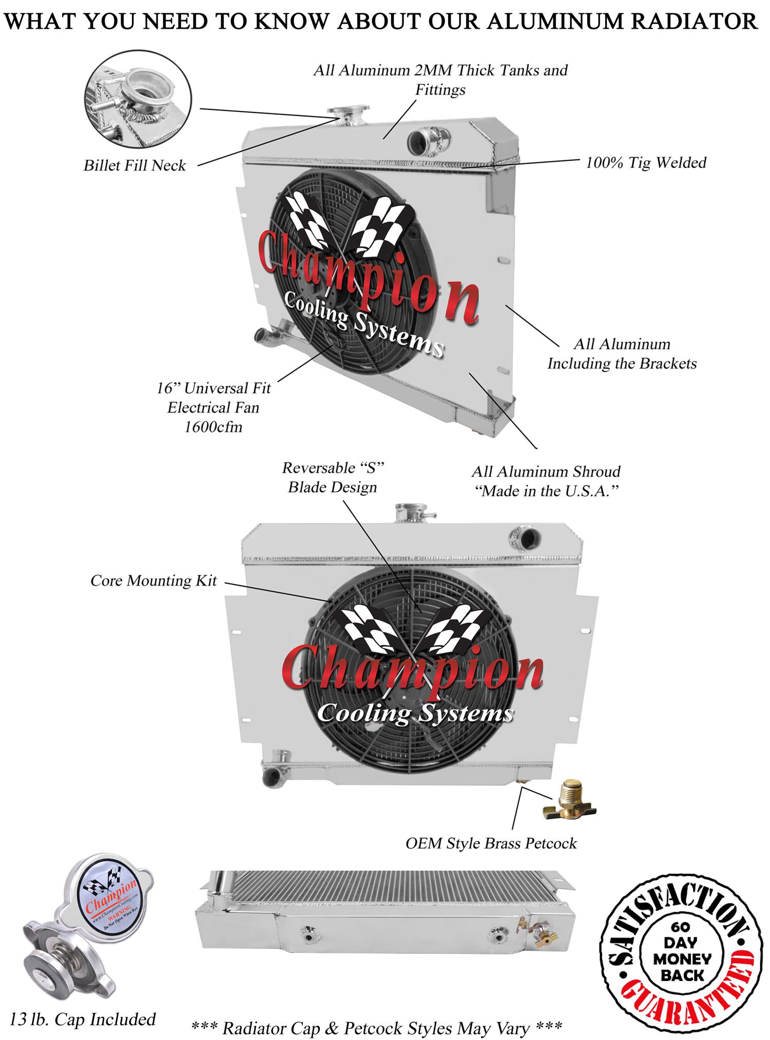 Jeep Cj 4 Row Champion Alum Radiator Fan Shroud