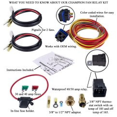 Spal Thermo Fan Wiring Diagram Car Stereo Hook Up Controls For Electric Harness Great Installation Of Champion Cooling 180 Degree 40amp Relay Kit Single Rh Performancecooling Com Automotive Motor