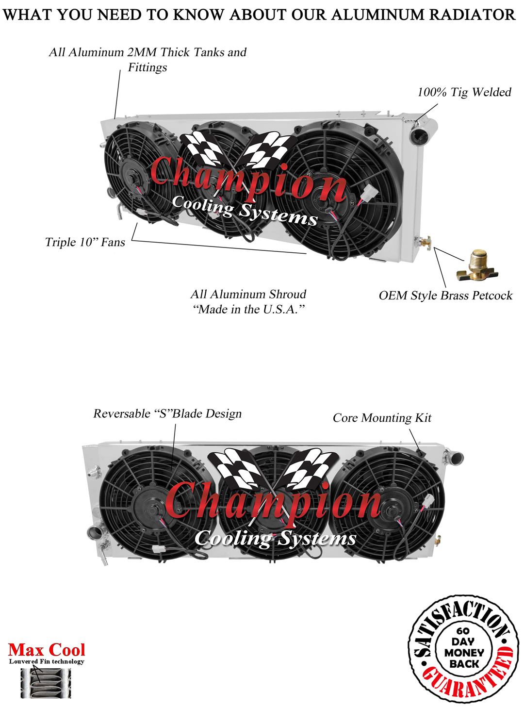 Jeep Cherokee Radiator 2 Row Champion Shroud
