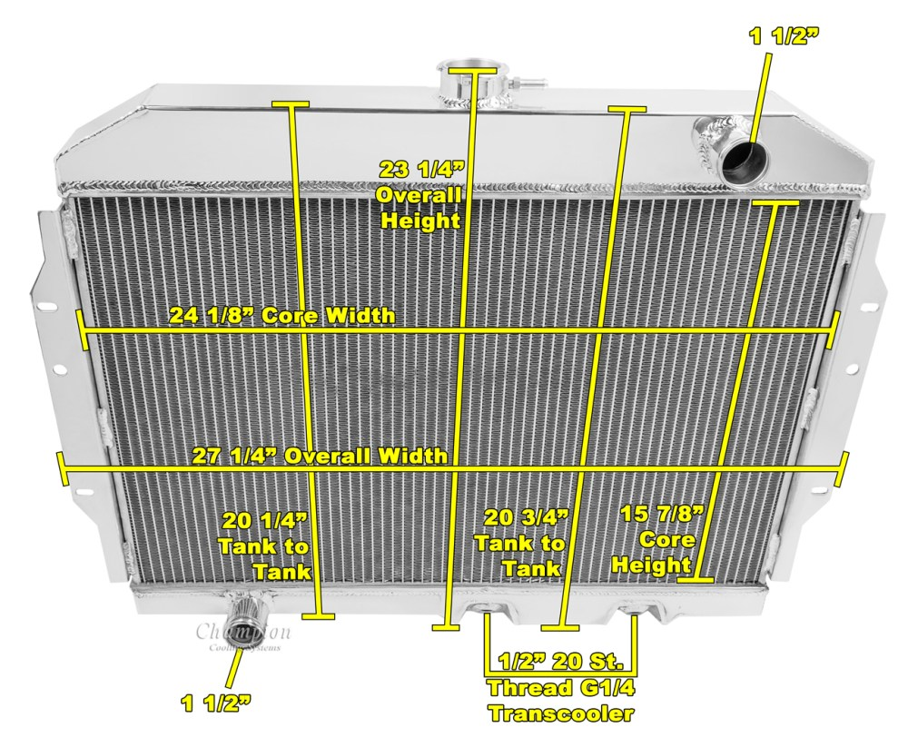 medium resolution of american motors javelin radiator aluminum 4 row champion shroud 12 fans mc407 ebay