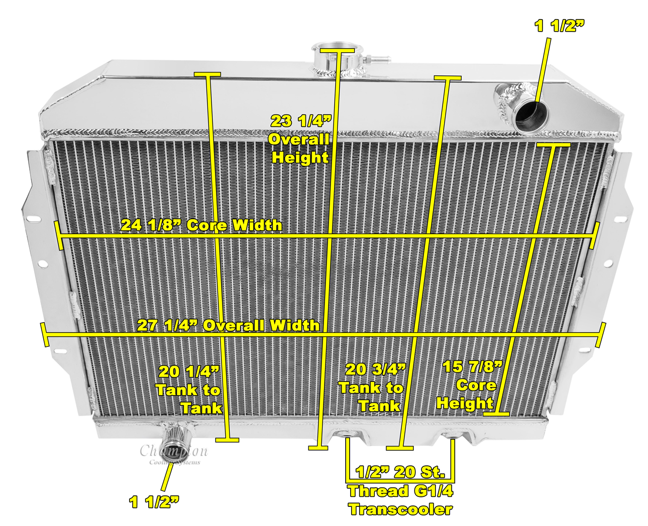 hight resolution of american motors javelin radiator aluminum 4 row champion shroud 12 fans mc407 ebay