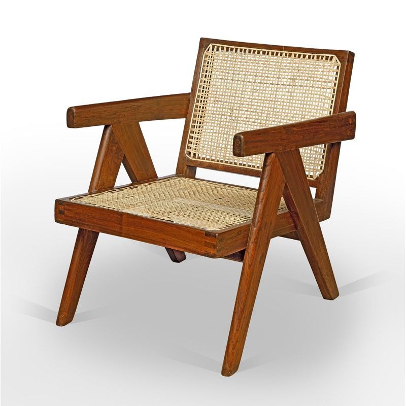 cane bottom chairs revolving chair with price pierre jeanneret le corbusier armchair