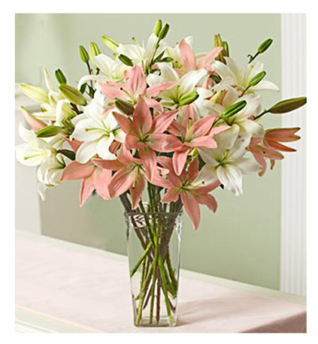 CF 10 Pink and White lilies bouquet