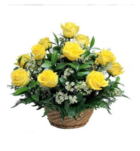 CF 15 Yellow Roses Basket