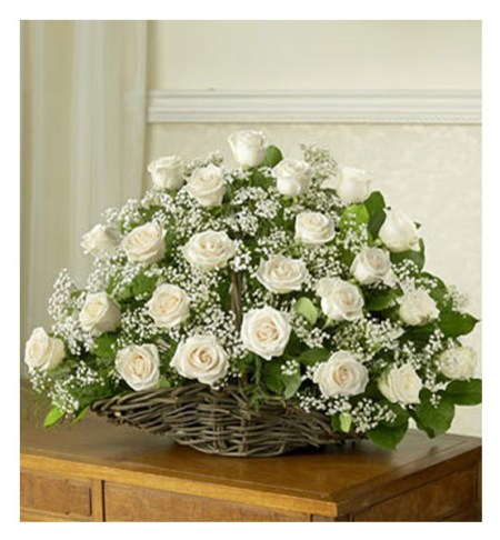 CF Basket of White Roses