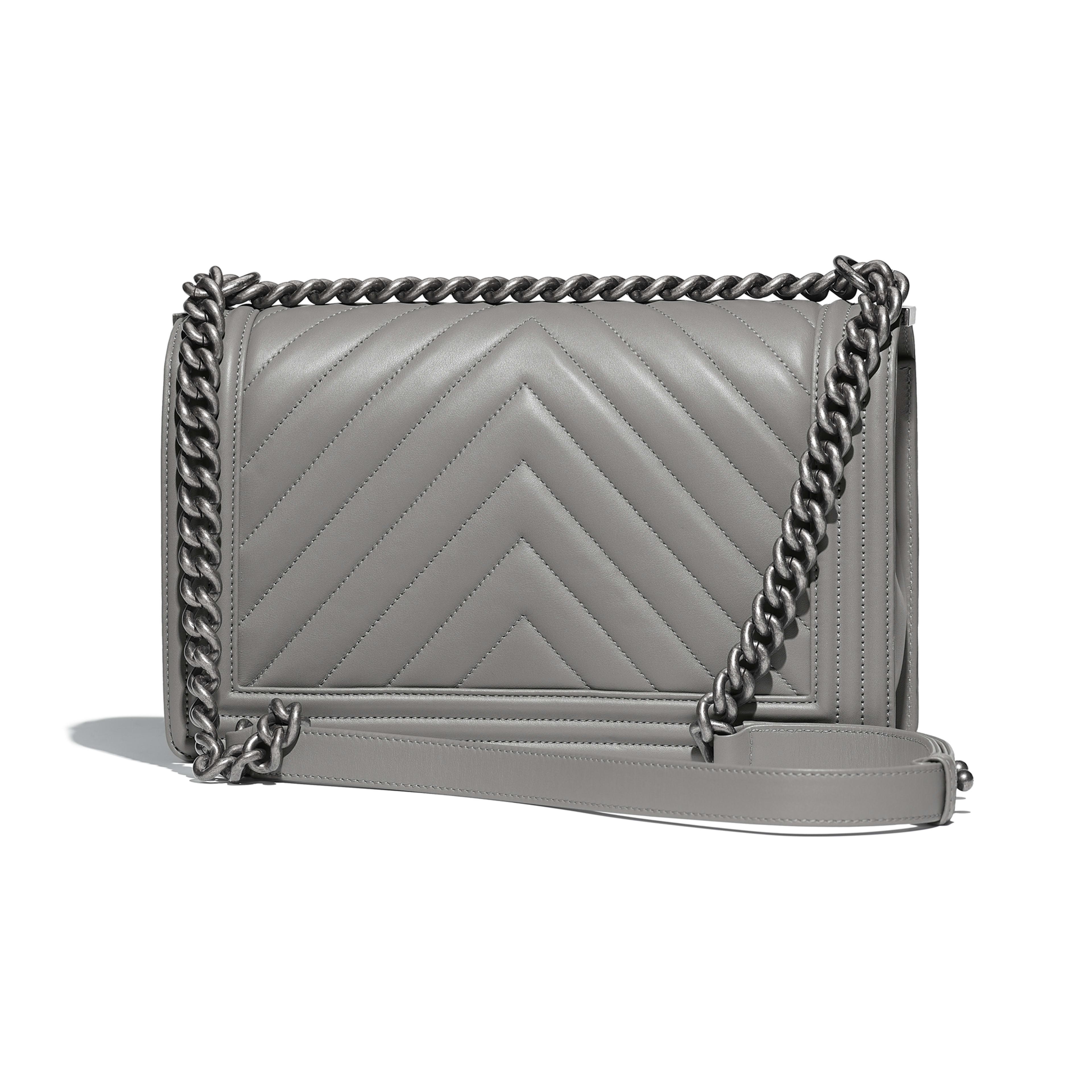 645b1f4a5cc9c Calfskin RutheniumFinish Metal Gray Large BOY CHANEL Handbag CHANEL