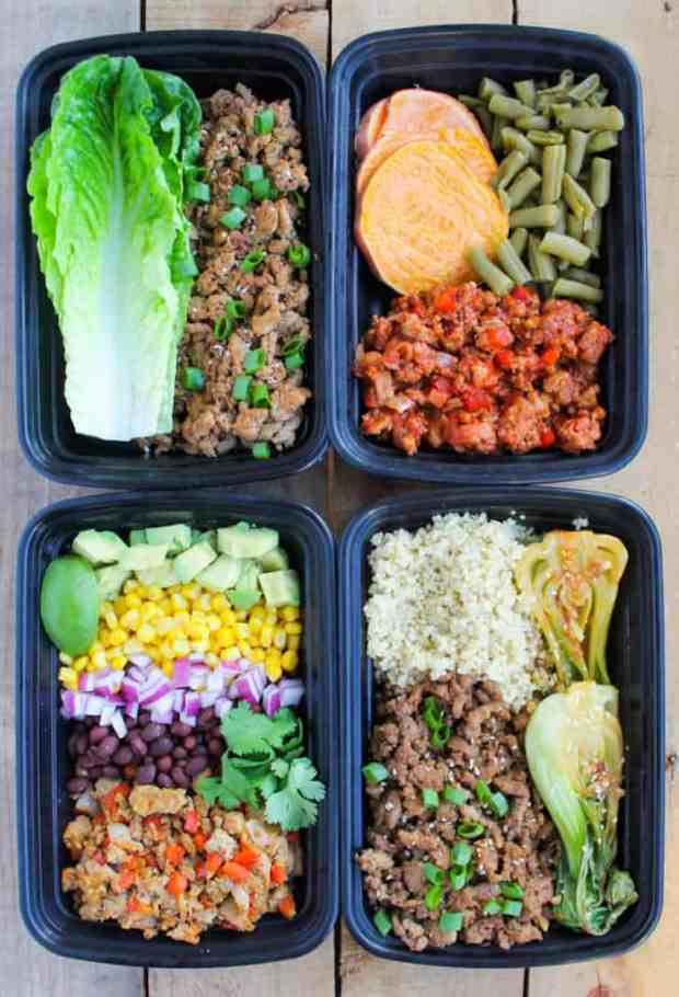 Easy Ground Turkey Meal Prep Bowls: 4 Ways