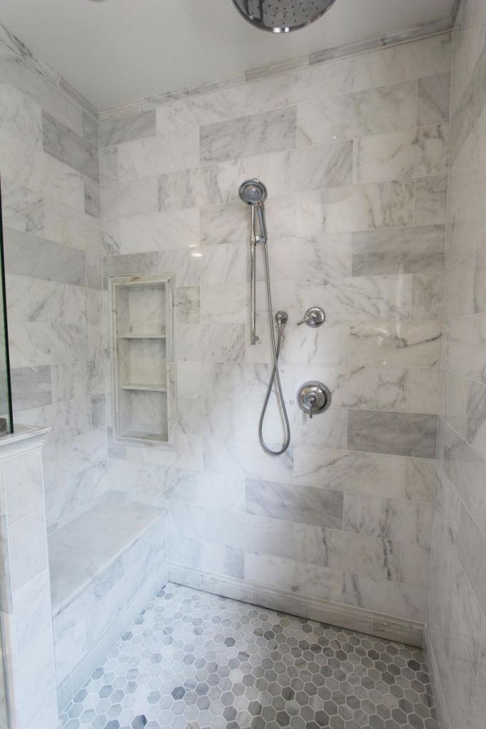 Custom Shower Bench And Shower Niche 2 Shelves In Shower