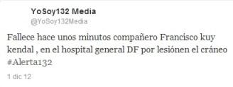 Declara #YoSoy132 fallecido a herido de San Lázaro, posteriormente lo desmienten, se encuentra estable