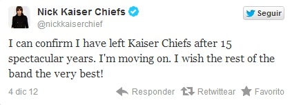 Nick Hodgson deja los Kaiser Chiefs