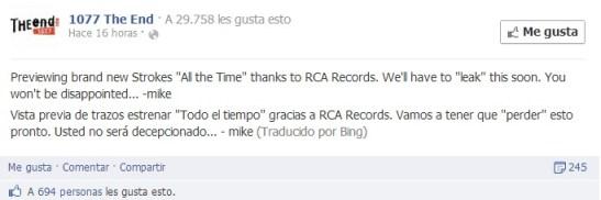 Nuevo sencillo de The Strokes será 'All the Time'