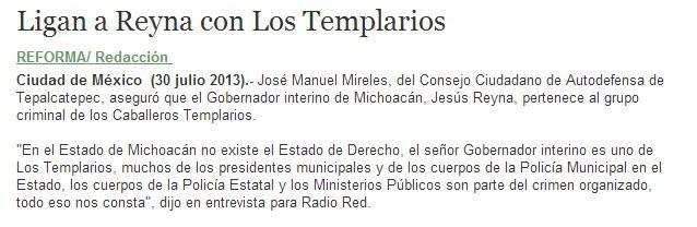Michoacán Reyna Reforma Templarios