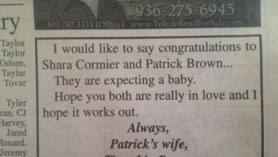 mujer despechada publica anuncio para felicitar a amante.