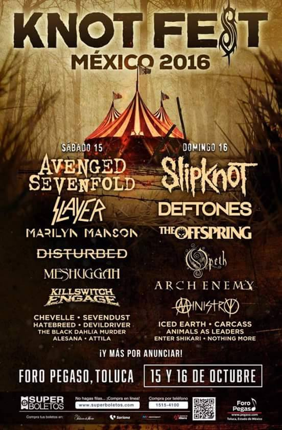 Knotfest Mexico 2016 cartel