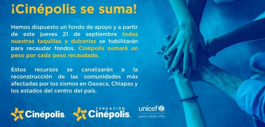 Cinepolis ayuda damnificados sismo