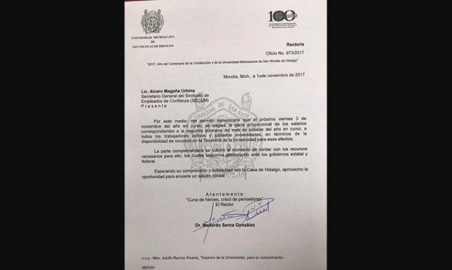 comunicado-pago-salarial-parcial-UMSNH-Maestros-Michoacán