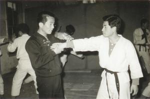 Early photo of Martial Art Grandmaster Chang teaching Hapkido.