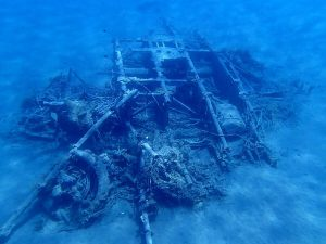 airplane wreckage at Theodorou island