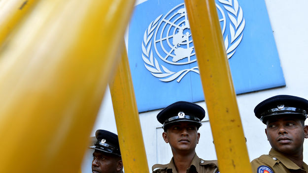 Sri Lanka soldier under UN sign
