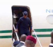 The Acting President, Professor Yemi Osinbajo has returned to Abuja from London