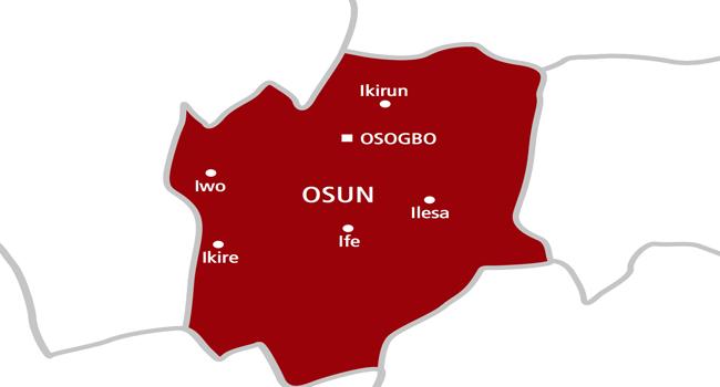 A map of Osun state, a region in South-west Nigeria.