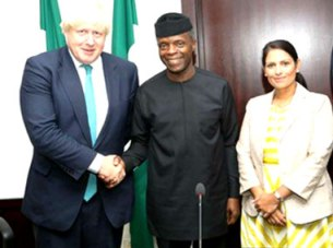 Image result for boris johnson visits osinbajo
