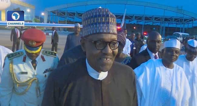 President Muhammadu Buhari at the Nnamdi Azikiwe International Airport upon his arrival in Nigeria on Friday after a three-day medical trip to London