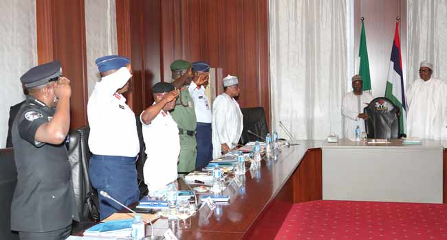 President Buhari Meets With Security Chiefs, CDS Absent