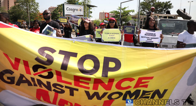 Protesters march through streets of Abuja in protest against alleged sexual assaults on Friday, May 10, 2019. PHOTO: Sodiq Adelakun/Channels TV