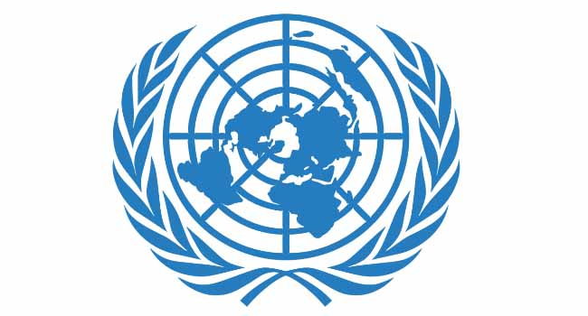 A photo of the United Nations emblem
