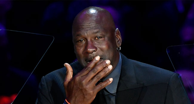 Michael Jordan speaks during The Celebration of Life for Kobe & Gianna Bryant at Staples Center on February 24, 2020 in Los Angeles, California. Kevork Djansezian/Getty Images/AFP