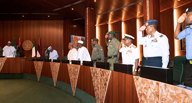 President Muhammadu Buhari met with the service chiefs on Thursday, January 30, 2020.