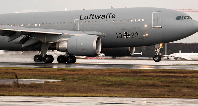 "German Air Force Airbus A310 ""Kurt Schumacher"" lands at Frankfurt am Main's airport, western Germany, with on board German citizens who have been evacuated from the Chinese city of Wuhan, epicentre of the coronavirus outbreak on February 1, 2020. Thomas Lohnes / AFP"