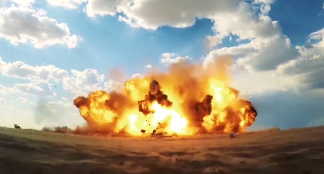 An image grab from footage obtained from the state-run Iran Press news agency on February 9, 2020 shows the impact of a launched newly-unveiled Raad-500 missile. IRAN PRESS / AFP
