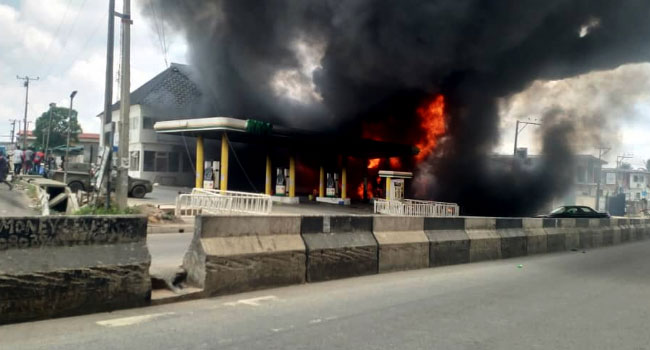 Just In : Nnpc Petrol Station In Ogba Is On Fire