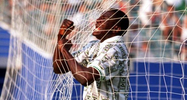Rashidi Yekini celebrates scoring in Nigeria's 3-0 win over Bulgaria at the 1994 FIFA World Cup USA. Photo: FIFA.com