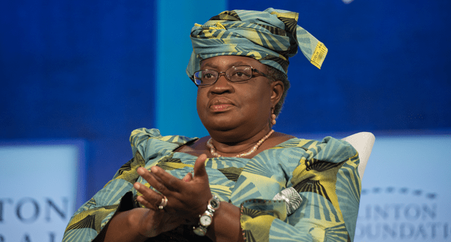 """In this file photo taken on September 19, 2016 former Finance Minster of Nigeria Ngozi Okonjo-Iweala looks on during the Opening Plenary Session: """"Partnering for Global Prosperity,"""" at the Clinton Global Initiative in New York. Bryan R. Smith / AFP"""