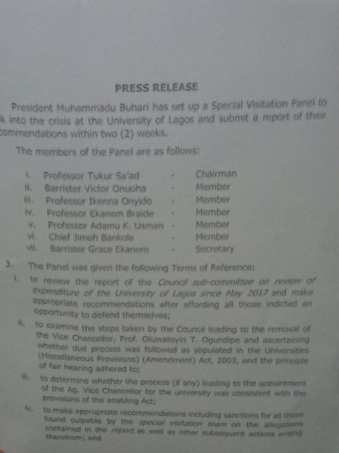 Federal Ministry of Education Press Release on August 21, 2020, over University of Lagos Crisis
