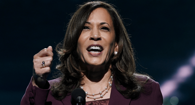 Senator from California and Democratic vice presidential nominee Kamala Harris speaks during the third day of the Democratic National Convention, being held virtually amid the novel coronavirus pandemic, at the Chase Center in Wilmington, Delaware on August 19, 2020. Olivier DOULIERY / AFP