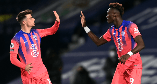 Chelsea's English striker Tammy Abraham (R) celebrates with Chelsea's English midfielder Mason Mount (L) after scoring their third goal during the English Premier League football match between West Bromwich Albion and Chelsea at The Hawthorns stadium in West Bromwich, central England, on September 26, 2020. Laurence Griffiths / POOL / AFP