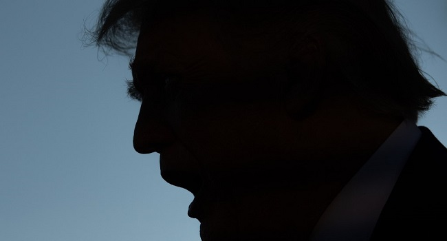 silhouette of Donald Trump