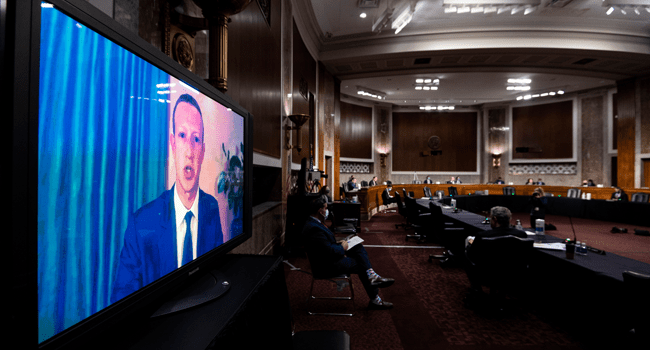 """Mark Zuckerberg, Chief Executive Officer of Facebook, testifies remotely during the Senate Judiciary Committee hearing on """"Breaking the News: Censorship, Suppression, and the 2020 Election"""" on November 17, 2020 in Washington, DC. Photo By Bill Clark-Pool/Getty Image"""